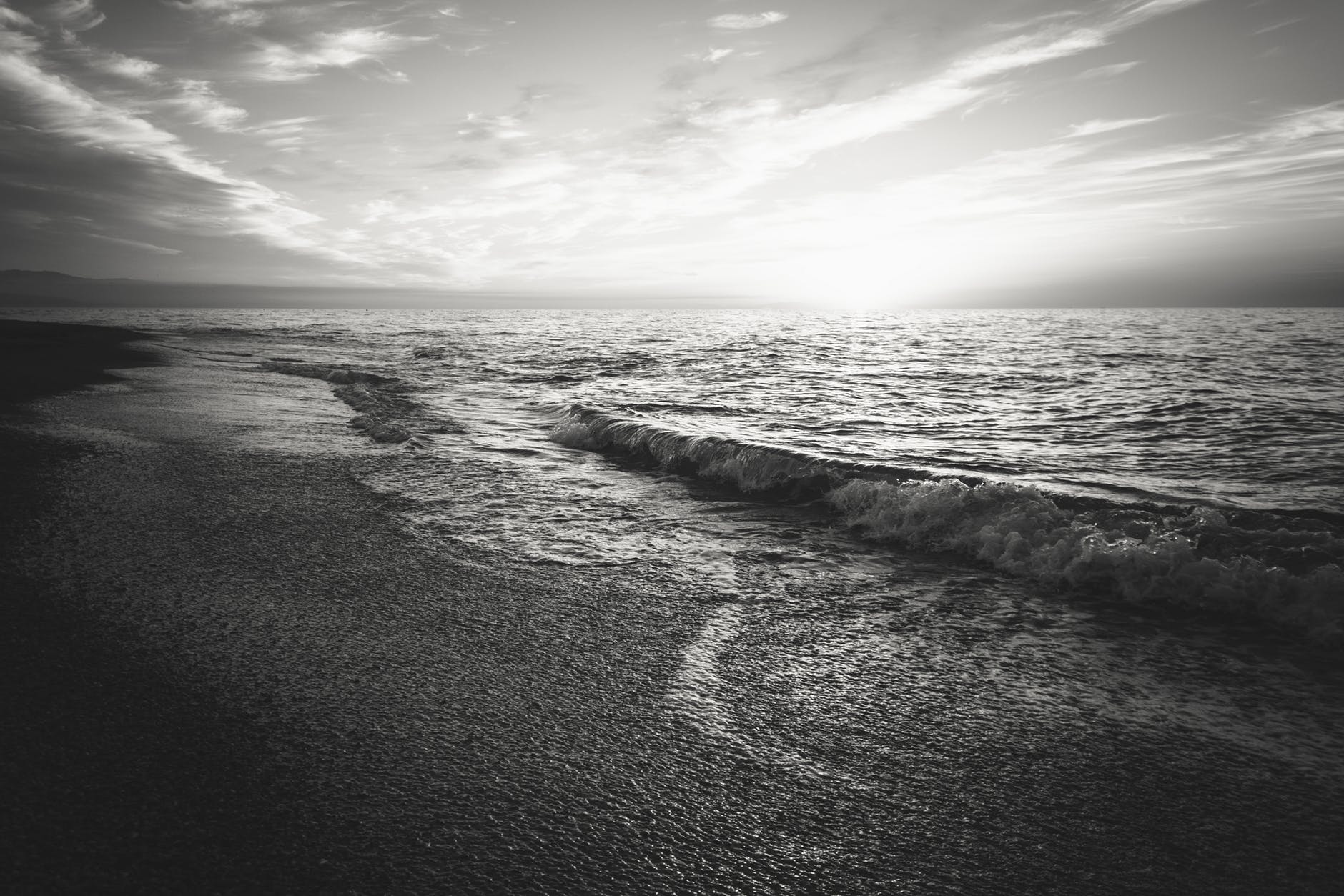 sea black and white sunset beach